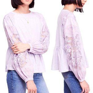 Free People Embroidered Penny Tee Top Lilac $98 S